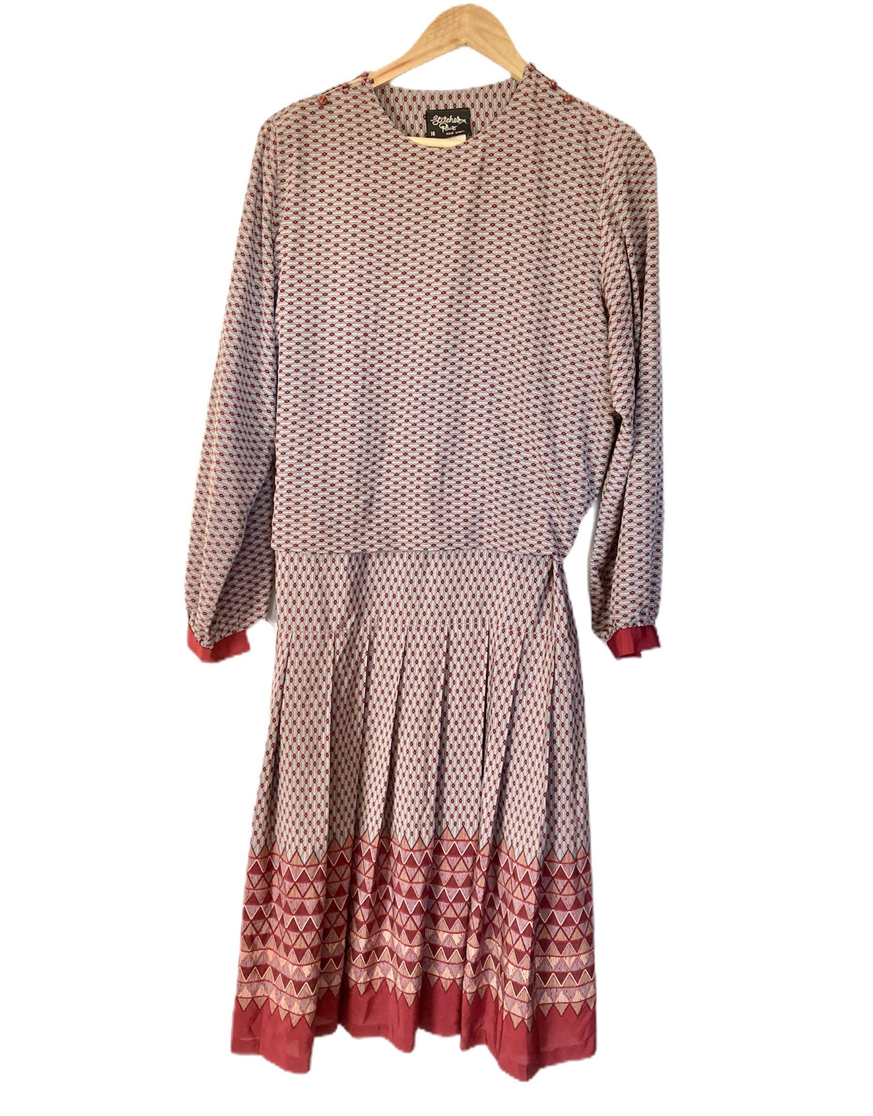 Long sleeve Midi Vintage dress