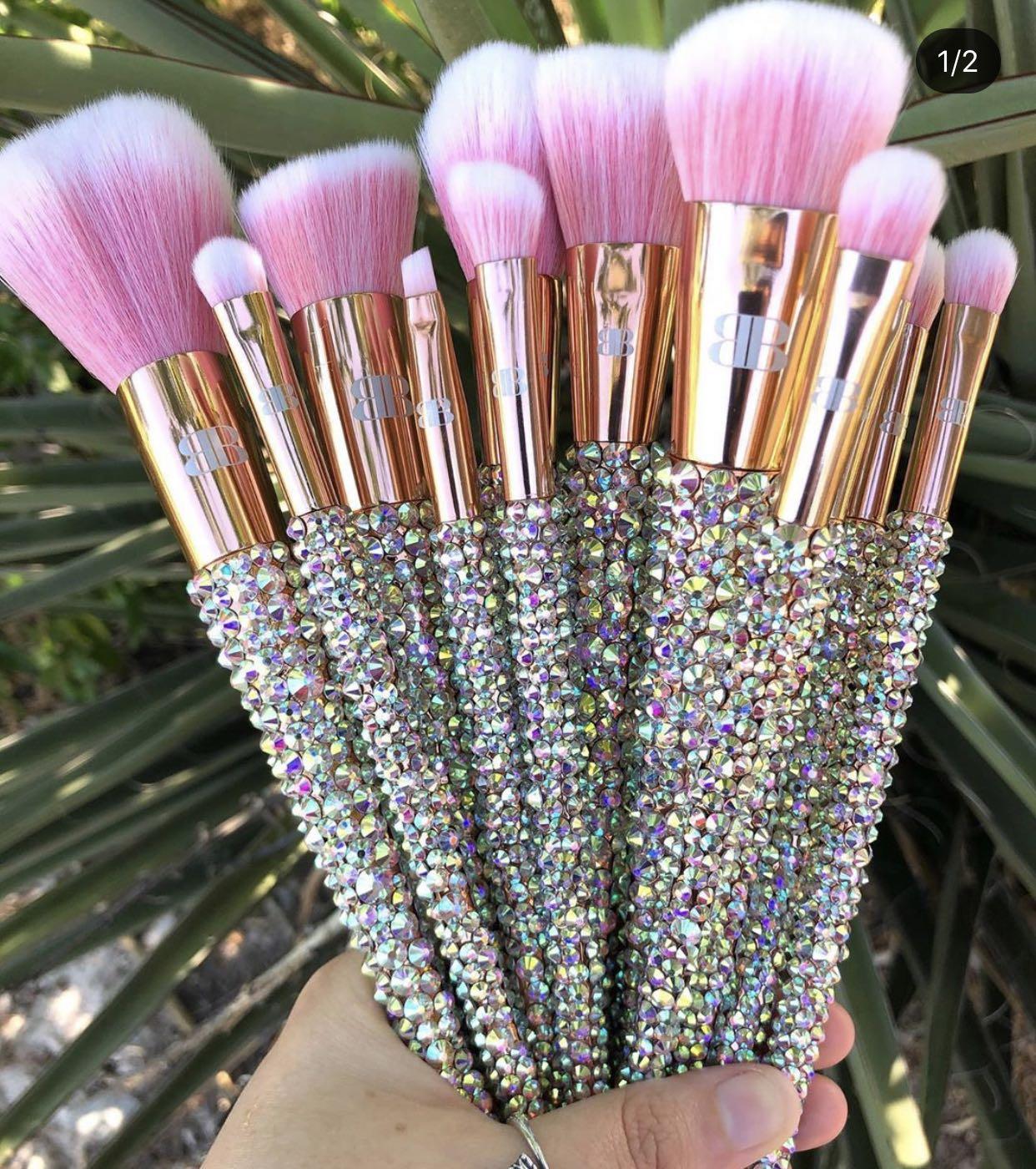 Makeup Brushes Set Pink Sparkly