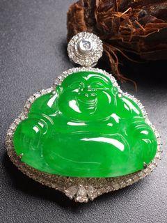 【冰种满绿翡翠佛公吊坠】•Myanmar natural jade