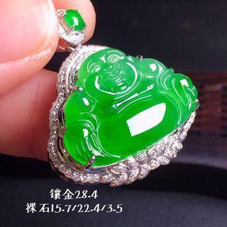 【冰种满绿翡翠佛公】•Myanmar natural jade