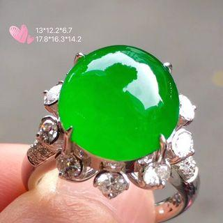 【冰正阳绿翡翠大蛋戒指】•Myanmar natural jade ring
