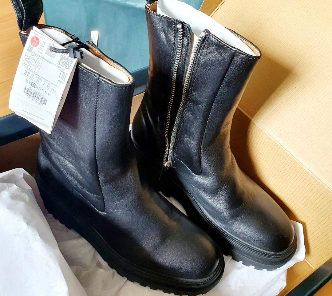 Zara Women Black Leather Boots Size 7