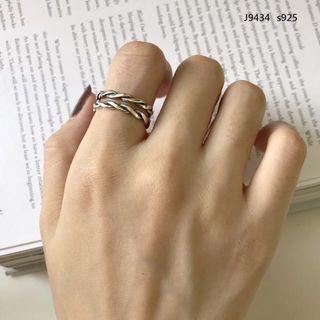 韓版個性編織925純銀戒指