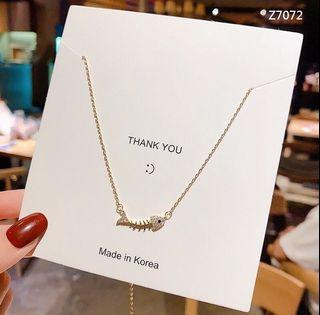韓版時尚魚骨鑲鑽造型玫瑰金鎖骨鍊