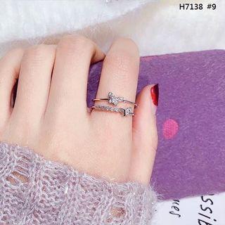 韓版氣質鑲鑽玫瑰金戒指