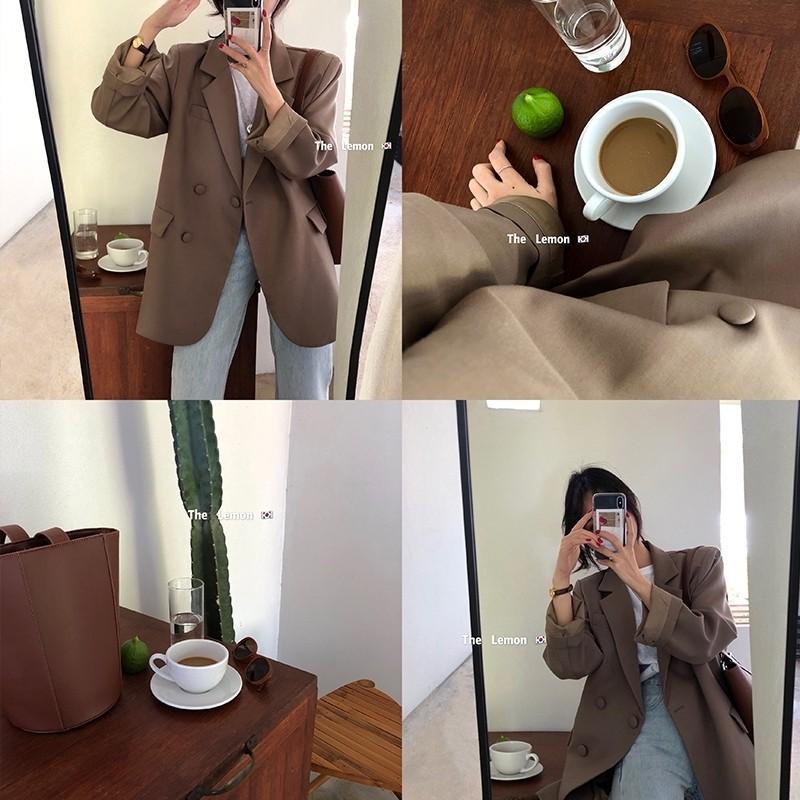 有實拍 好質感韓版西裝外套 咖啡色
