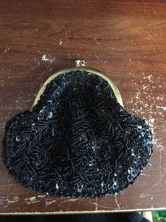 Black sequin beaded coin purse clutch