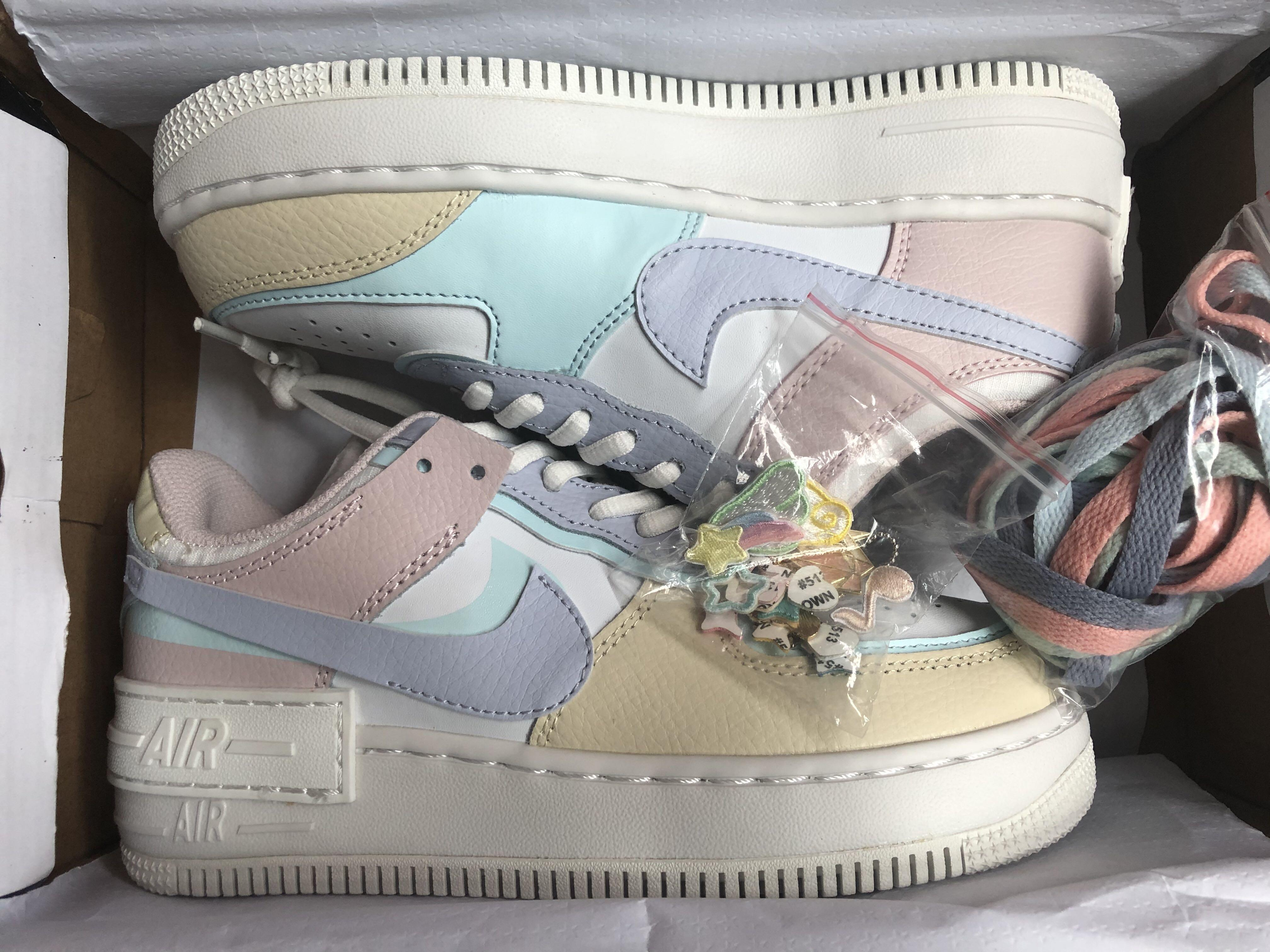 Nike Air Force 1 Shadow Pastel With Accessories Decoration Women S Casual Sneakers Shoes Women S Fashion Shoes Sneakers On Carousell Also, the counterfeit nike air force 1 pair's a i r text is placed too high on the sneakers, as it almost makes contact with the swoosh logo above, and that's something which you will never meet on an authentic nike af1 pair. sgd