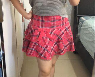 Pink checkered mini skirt