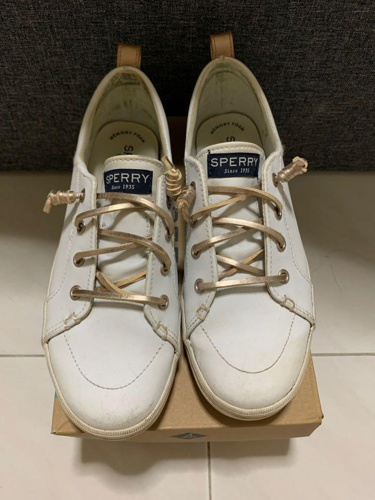 Sperry top sider in white with rose