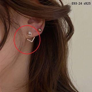 韓版氣質V字鑲鑽珍珠耳環