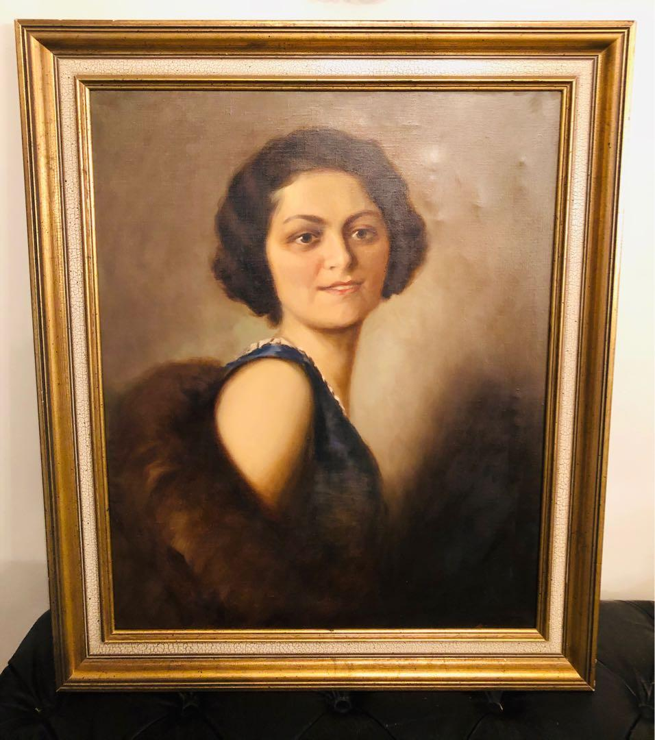 Vintage woman portrait oil painting on canvas