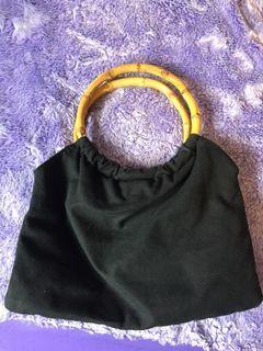 Wood handle black hand bag purse