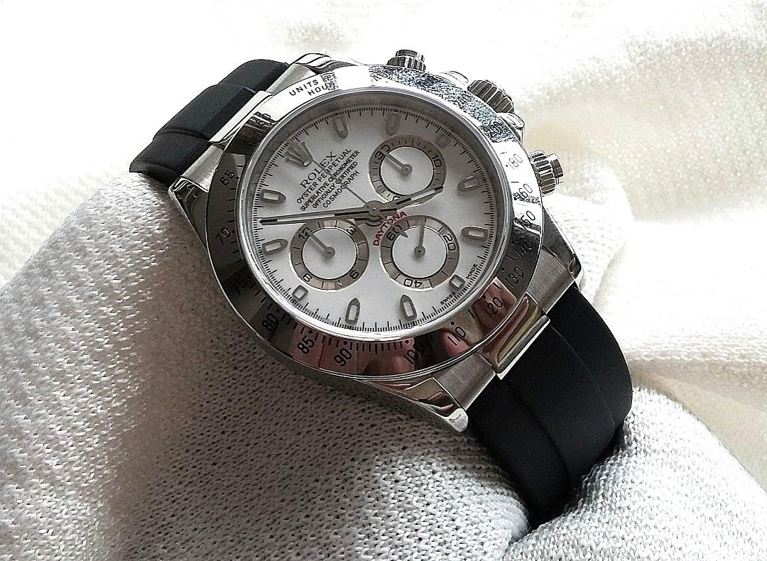 20mm RUBBER OR LEATHER  STRAP W STAINLESS STEEL ENDLINK & CLASP KIT FOR ROLEX DAYTONA (PRICE INCLUDES FITMENT)
