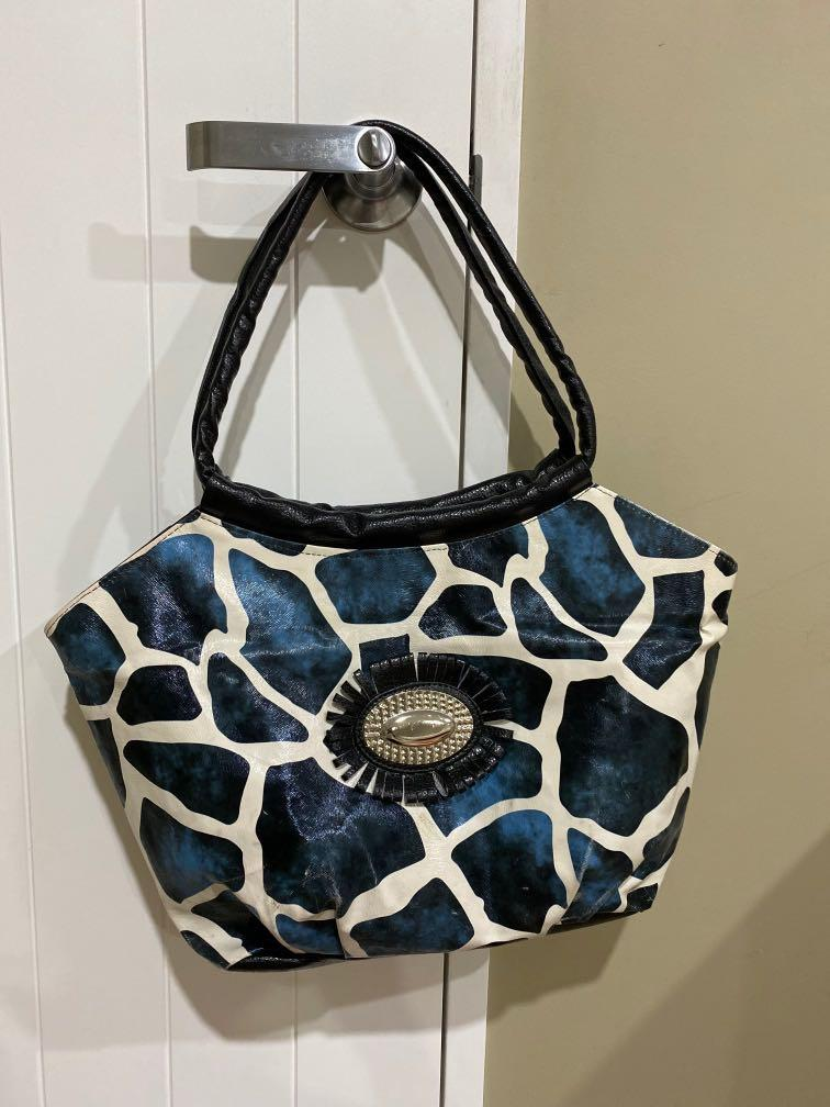 Blue and white mom bag