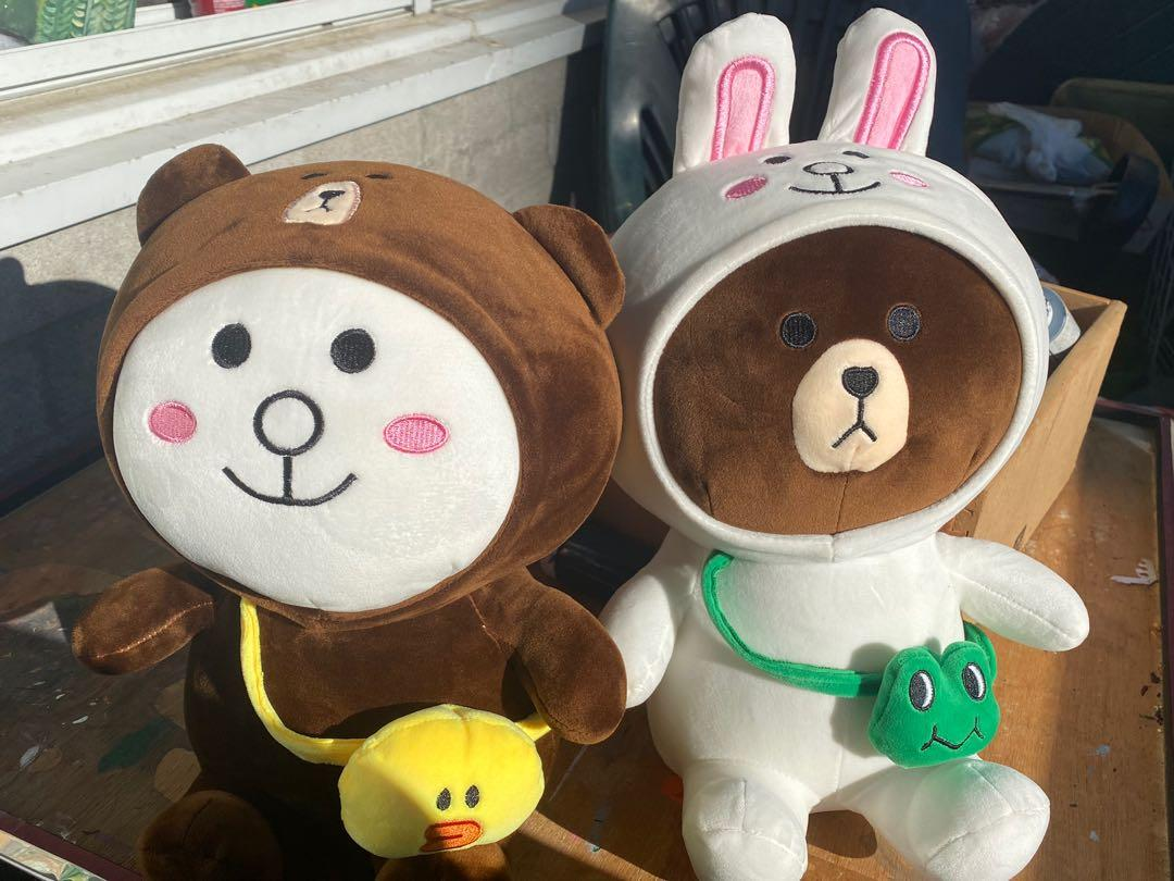 Cony Hare and Sally brown bear plushies