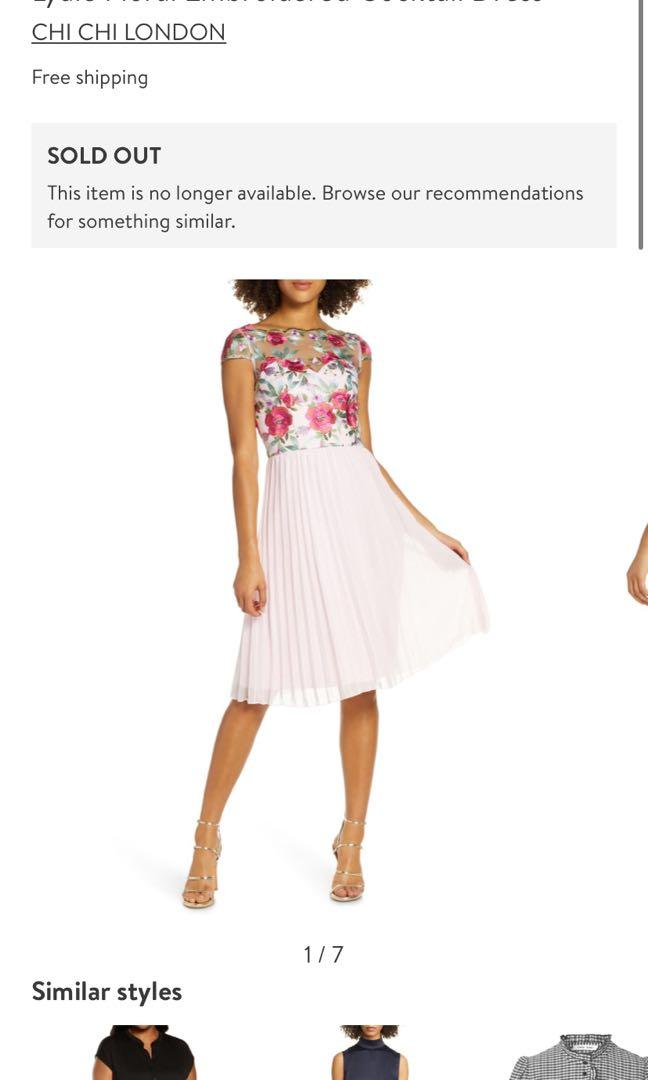 Floral Embroidered Pleated Dress by CHI CHI LONDON