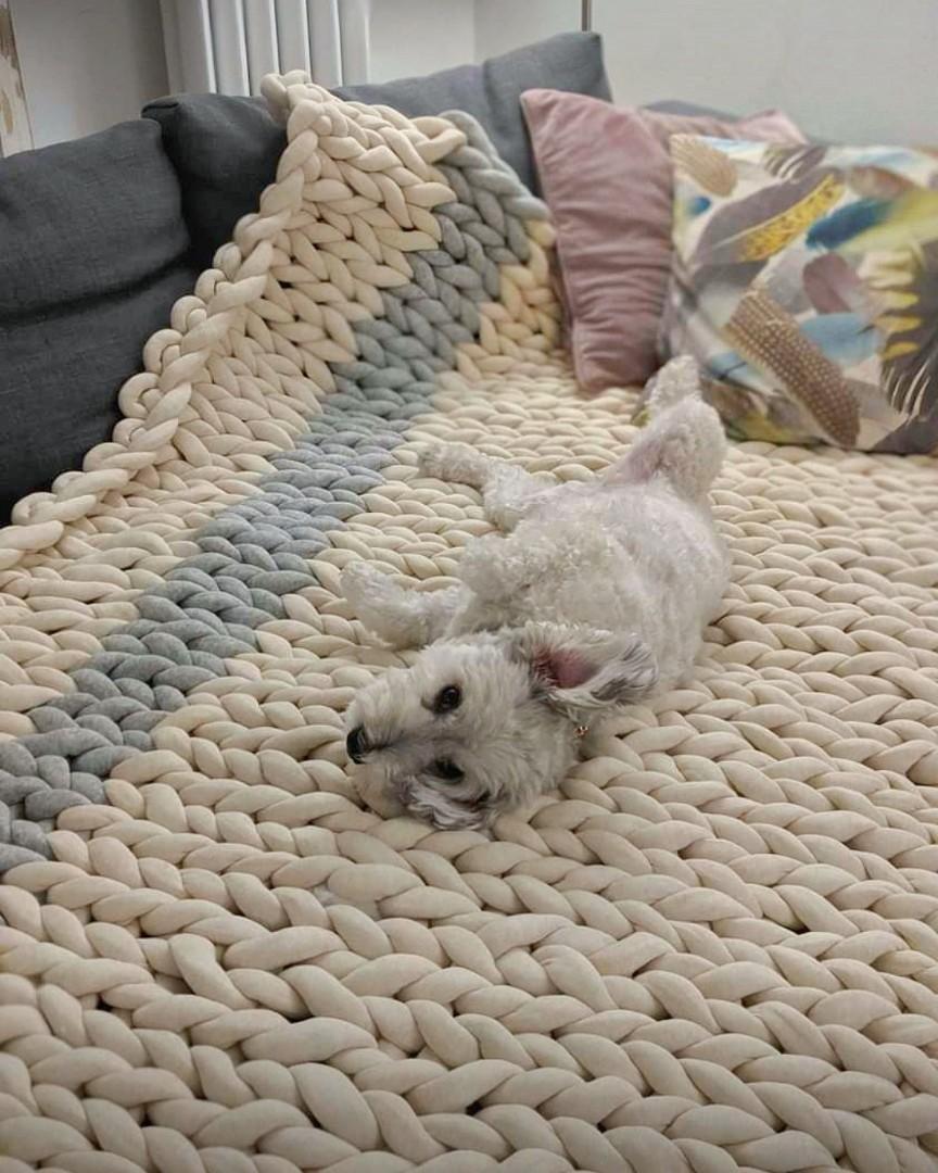 Handmade Chunky Arm Knit Blanket