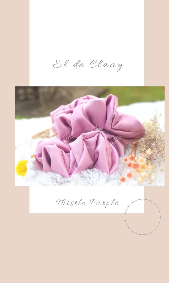 Scrunchie ikat rambut thistle purple