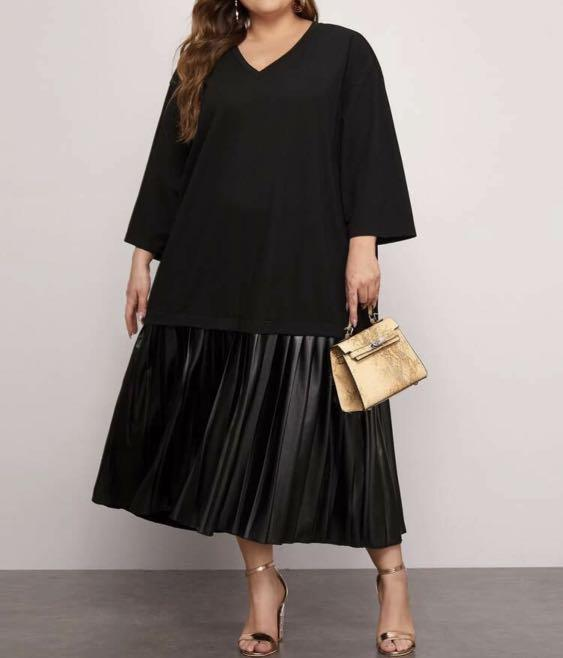 Shein Plus 2xl 3xl 4xl Faux Leather Hem Dress