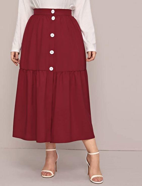 Shein Plus 2xl 3xl 4xl Ruffle Hem Skirt