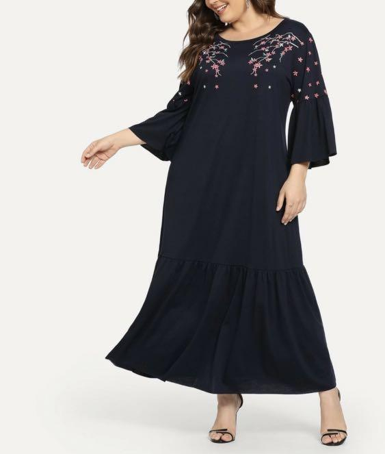 Shein Plus 3xl Embroidery Flower Dress