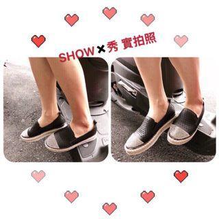 美鞋推薦(就是賠錢回饋.買貴退差價)_黑37號現貨_韓系貼鑽皮質造型休閒包鞋