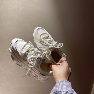 【現貨】時尚潮流網紅老爹鞋 增高厚底布鞋 白灰撞色