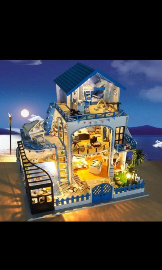 袖珍屋 再遇藍調愛琴海 附音樂 交換禮物 DIY手作 生日禮物 迷你屋 模型屋 溫馨小屋 那家DIY小屋娃娃屋迷你屋