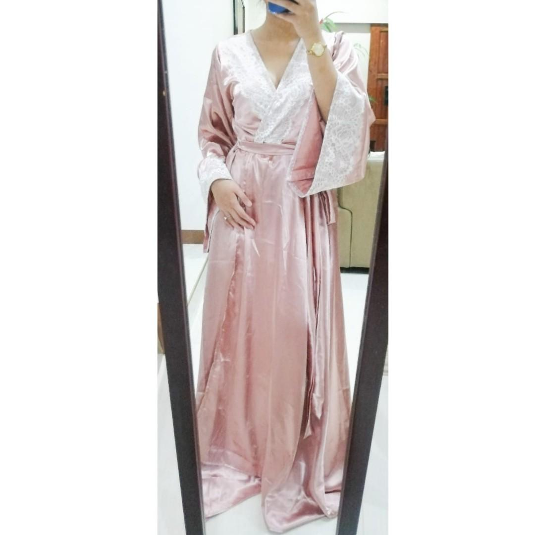 Brand New Rose Gold Bridal Robe For Prenup Wedding Shoot Women S Fashion Clothes Dresses Skirts On Carousell