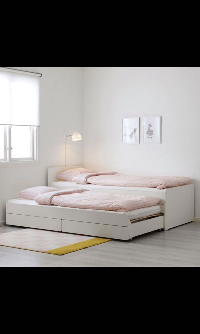 Ikea Single Bed Trundle And, Queen Bed With Trundle Ikea