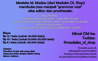 Madako membuka jasa menjadi grammar nazi
