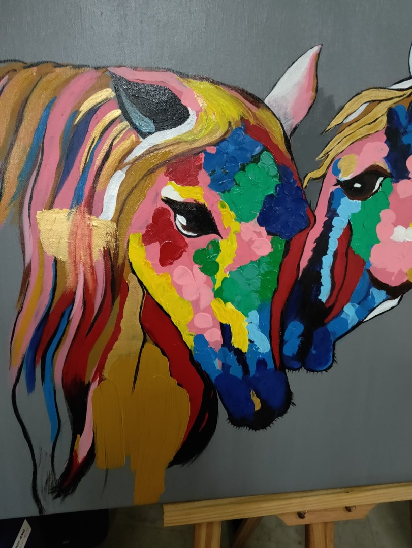 Rainbow Horse Oil Painting Design Craft Handmade Craft On Carousell
