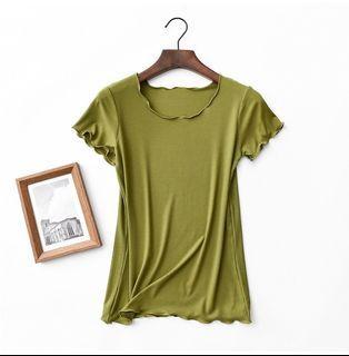 【現貨】捲邊上衣 莫代爾棉上衣 芥末綠
