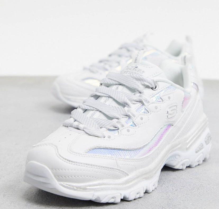 UK4 White holo satin laces Skechers D