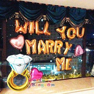 🌈Will you marry me 求婚氣球佈置套裝 大戒指 心心 字母氣球
