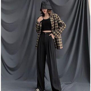 黑色落地寬褲