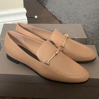 Charles & Keith Metallic Knot Accent Loafers Nude Size 8