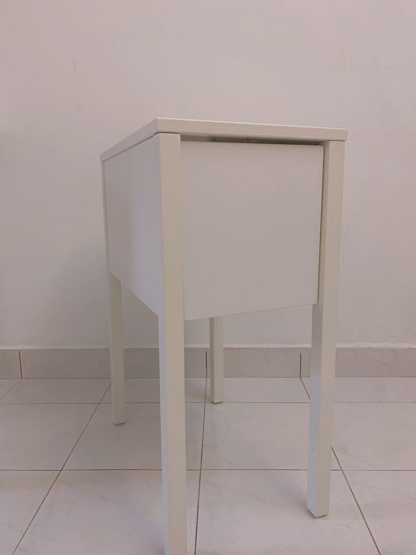 Ikea Nordli Bedside Table With Drawer In White Home Furniture Furniture On Carousell