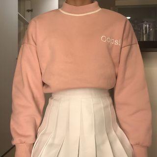 Korean Pastel Pink Embroidered Oversized Mockneck Sweater