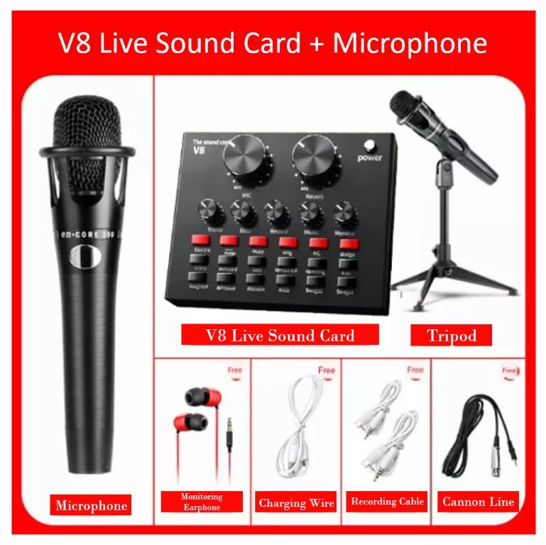 Live Sound Card V8 Pro Audio USB Headset Microphone Webcast for Phone Computer Live Streaming Video Youtuber, Electronics, Others on Carousell