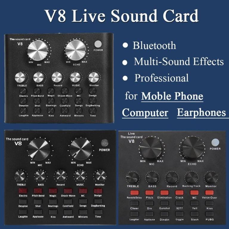 Live Sound Card V8 Pro Audio USB Headset Microphone Webcast for Phone Computer Live Streaming Video Youtuber