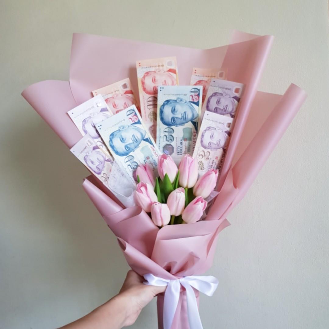 Money Fresh Flower Bouquet For Celebration Lover Birthday Anniversary Gardening Flowers Bouquets On Carousell