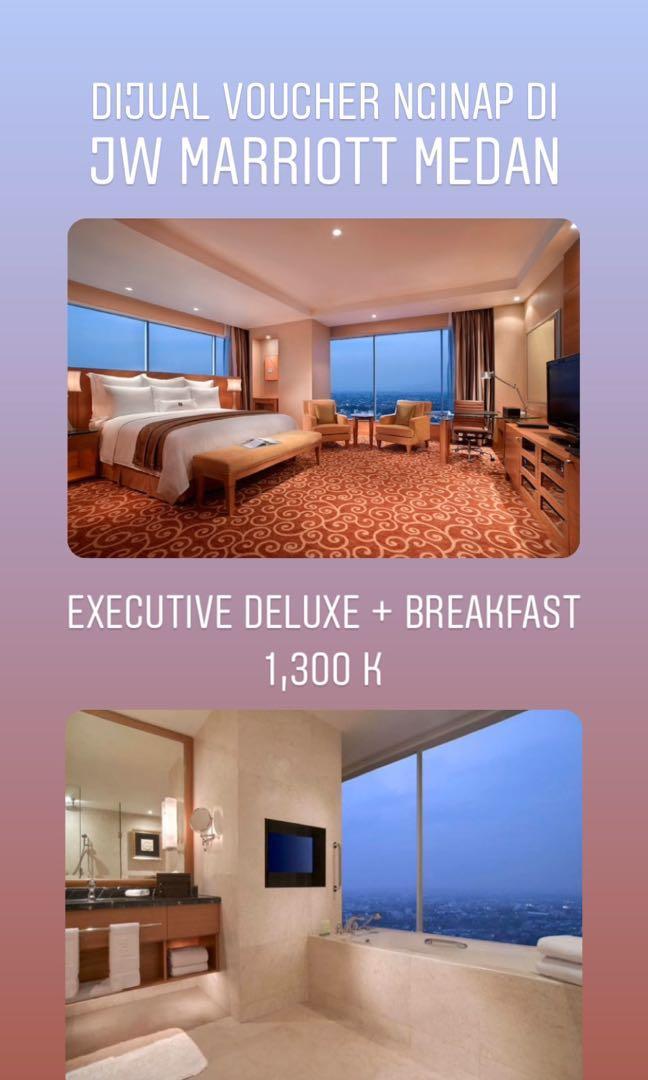 Voucher nginap JW Marriott Executive Deluxe + breakfast, bathtub hadap pemandangan kota