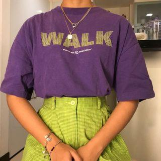 Y2K Vintage Lime Green and Purple Violet Graphic Print Overside Shirt Top