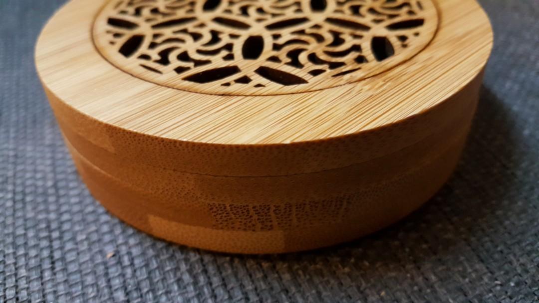 圓形竹製開蓋薰香皿