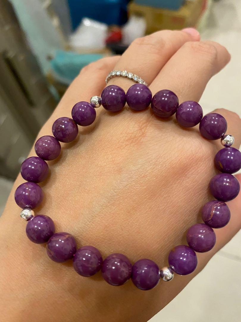 (特價)療癒水晶 能量寶石💎 紫雲母 純銀珠 手珠 手鍊