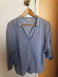 Baby blue stripped blouse womens