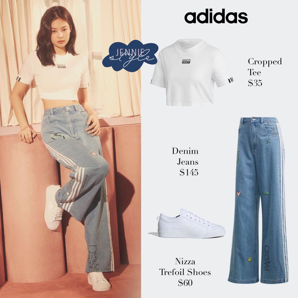 Adidas Denim jeans - worn by Jennie