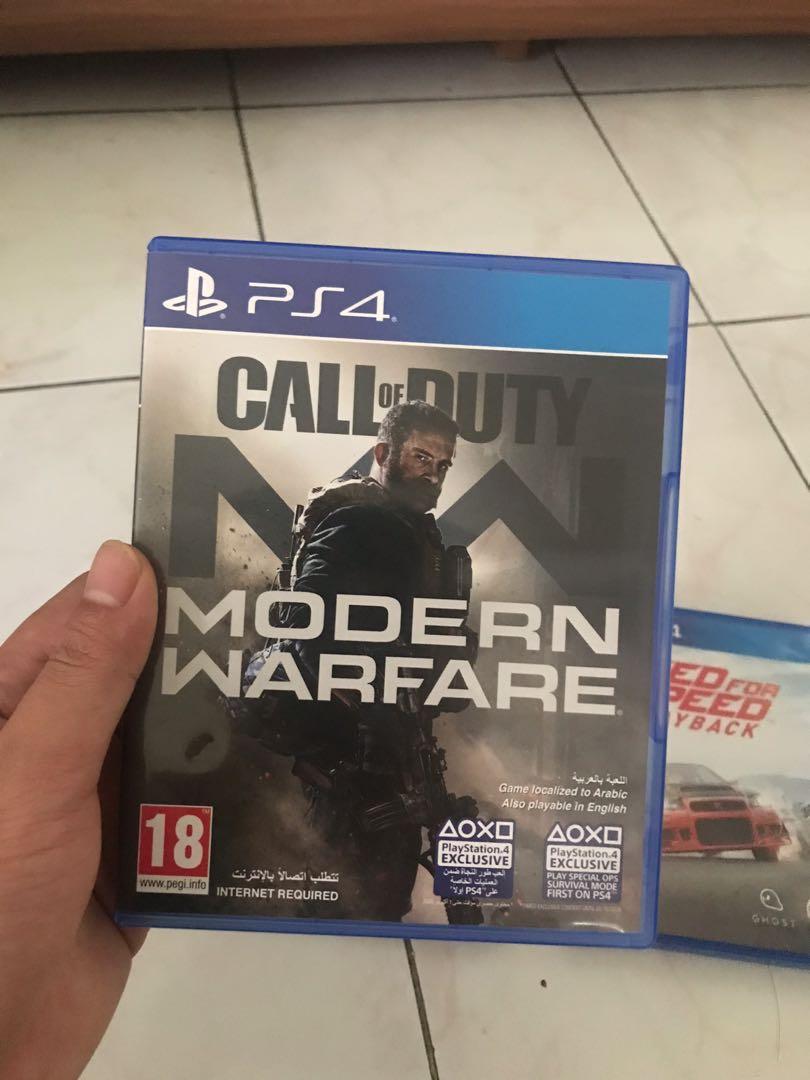 Call of duty modern warfare, god of war, nfs payback